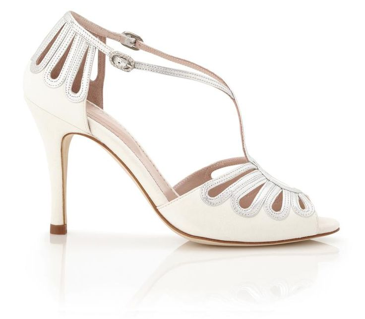 Leila Silver - Bridal Shoe - Ivory Kid Suede and Metallic Leather - High Heel - Sandal