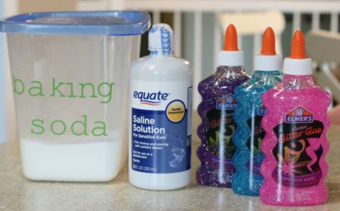 Elmer's glue slime recipe 4oz glue 1/2 T baking soda 1 T contact solution