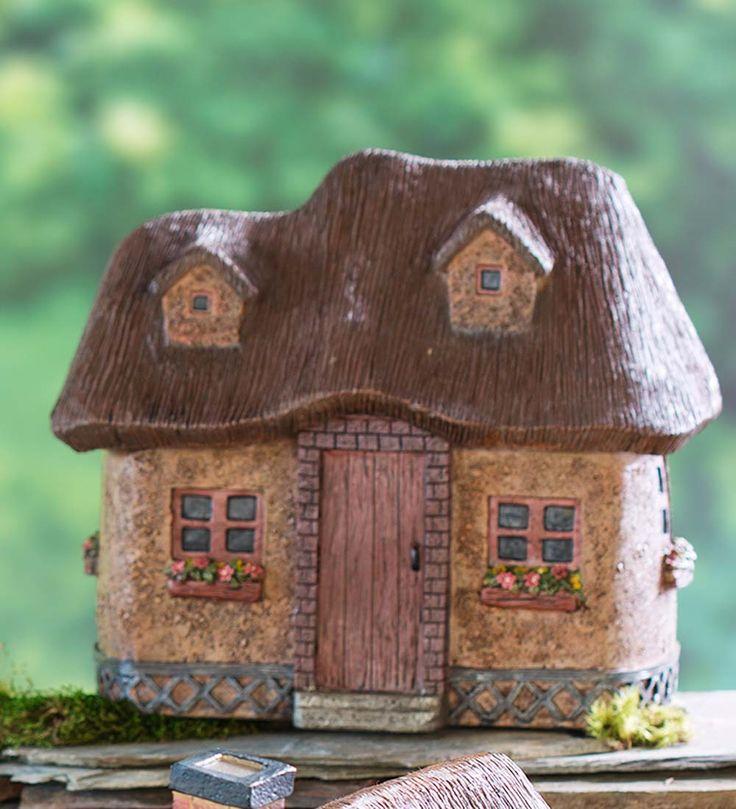 Miniature Fairy Garden Solar Stucco Cottage | Miniature Fairy Gardens - Miniature Fairy Gardening: Cottages, Furniture and Fairy Garden Supplies