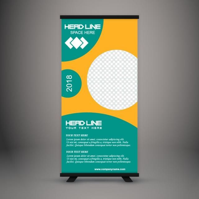 Business Roll Up Standee Design Banner Template Presentation And Vector Illustration Standee Design Rollup Banner Design Banner Design