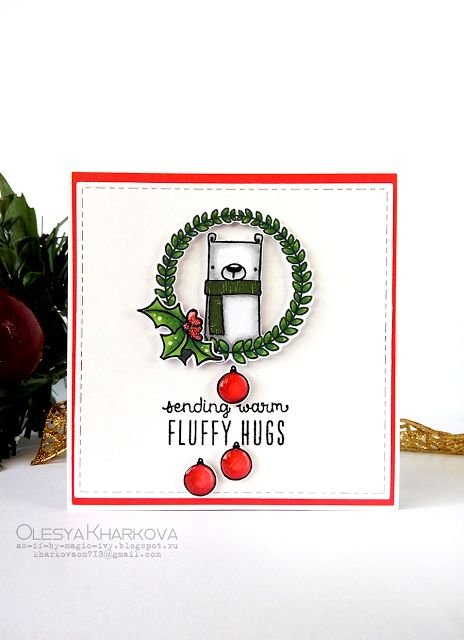 As if by magic by Olesya Kharkova: Fluffy Hugs | Christmas card