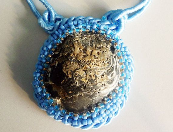 Beads embroidery pendant/necklace   La Mar by IzabelaCichocka