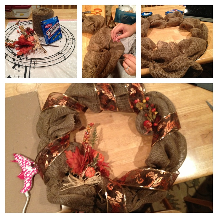"""18"""" wire wreath from Michaels, burlap, ribbon, glue gun, fishing wire, and fall pumpkin garlands.  Tie the end of the burlap with the fishing wire, hot glue it down to the wire wreath on the inside wire.  Give the burlap some volume, then tie it to the next section of cross wire. Repeat until you have done this all the way around, then do the same in the middle, then the outside wire. Attach the decorative garland, then wrap the ribbon around."""