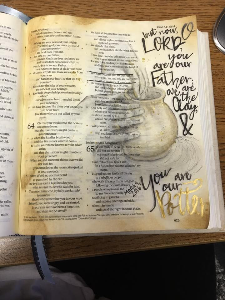 Isaiah  64:8 Bible Journaling. We are the Clay and You are our Potter.