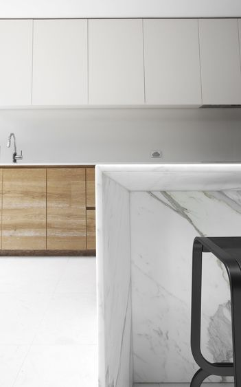 Kitchen inside the Dale House by Robson Rak Architects.