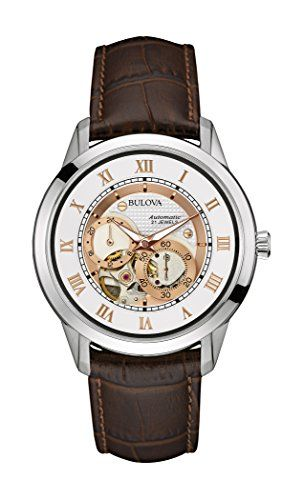 Bulova Men's Designer Automatic Self Winding Watch Leather Strap - White Rose Gold Dial 96A172--209