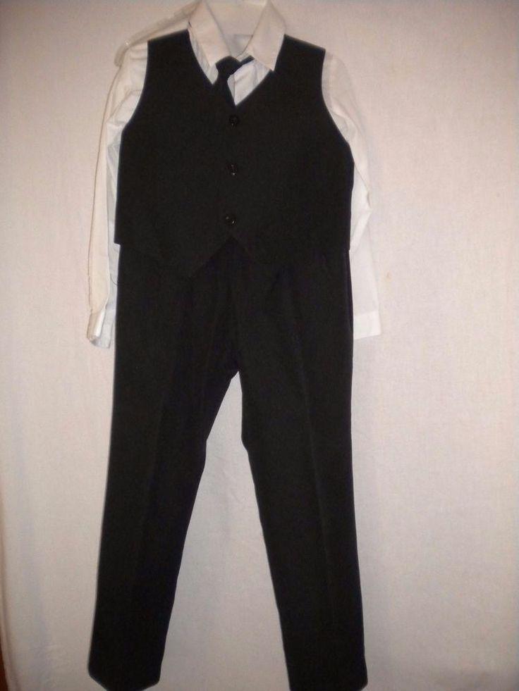 Tip Top Suits Size 7 Black/White 4 Piece Pants Vest Dress Shirt & Tie Boys…
