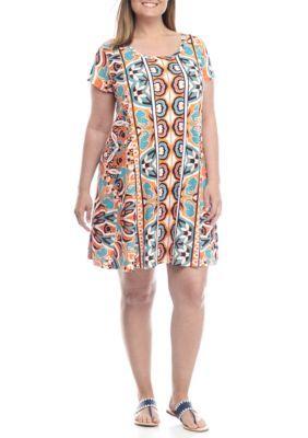 Crown  Ivy  OrangeNavyTurquoise Plus Size Pullover Knit Dress