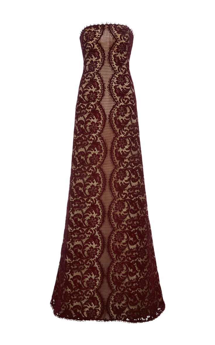 Long Strapless French Lace Dress by COSTARELLOS for Preorder on Moda Operandi