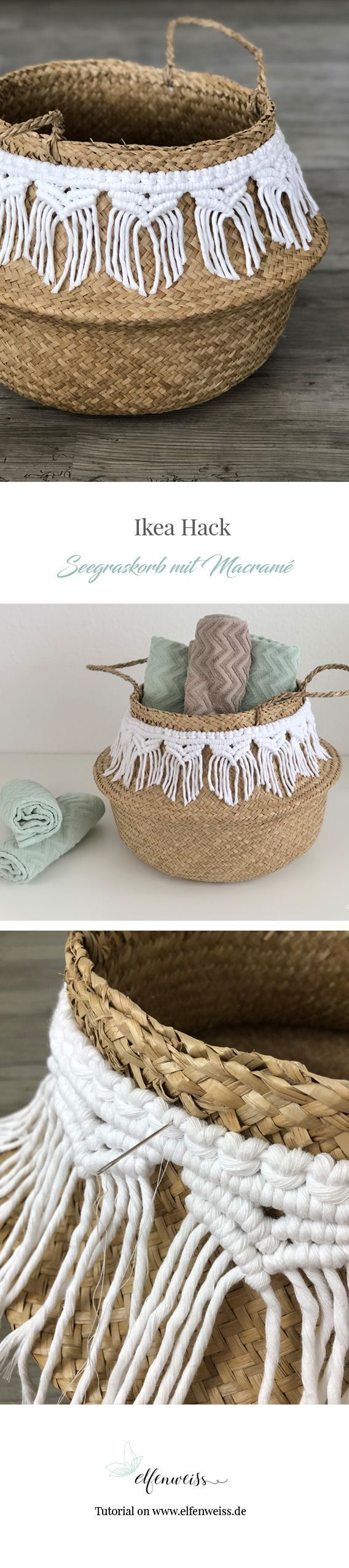 DIY boho basket with macramé trim