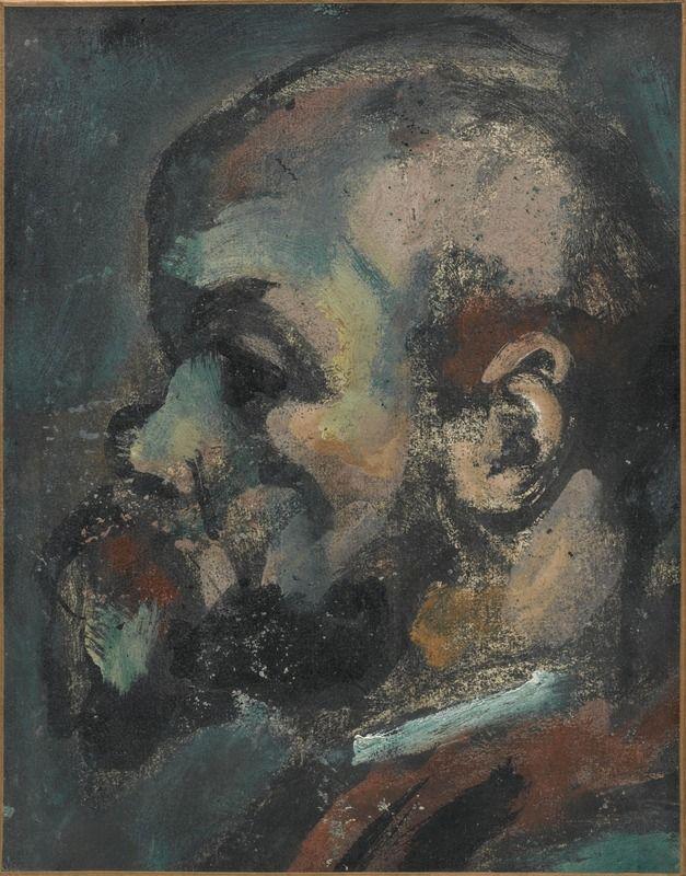 Georges Rouault (1971 - 1958). Verlaine, 1933 - 1939, Huile, encre, gouache sur lithographie marouflée sur toile, 38,9 x 30,6 cm. Centre Pompidou.