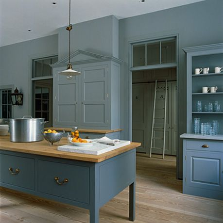 This is a contemporary twist on the traditional country house kitchen. Loads of well designed storage and an unusual colour combination - shades of airforce blue with bleached wood flooring. I could live with this! Plain English Bespoke Country Kitchen - The Spitalfields Kitchen 4