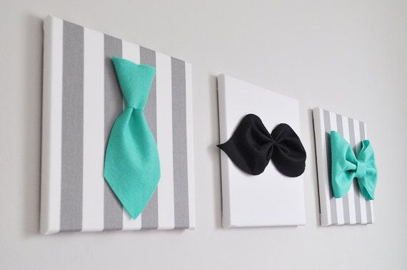 Mustache Nursery Art Print. Teal Neck Tie Bow Tie and by bedbuggs