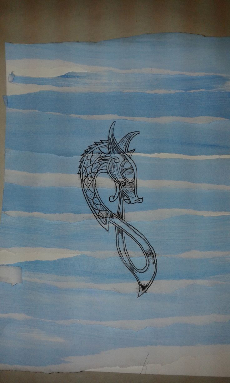 Viking dragon on a collage background