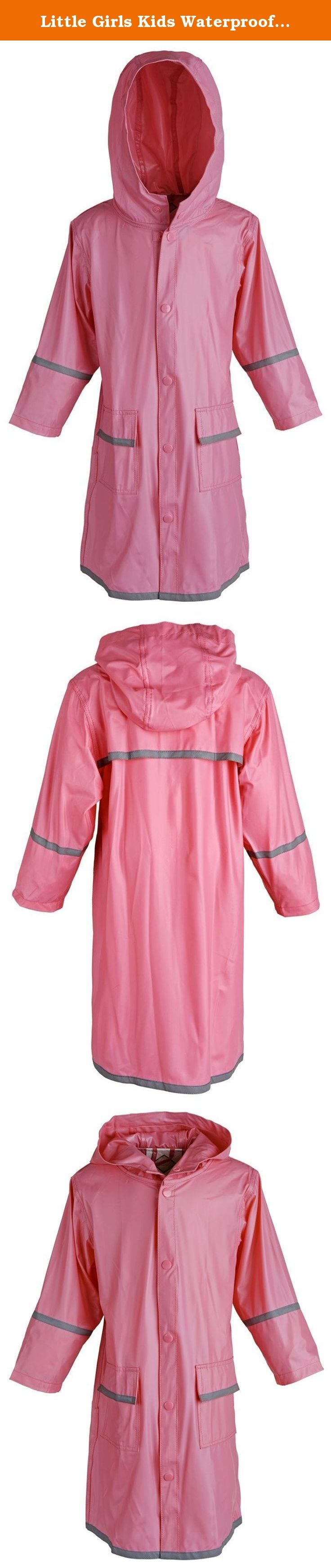 Little Girls Kids Waterproof Full Length Long Hooded Childrens Raincoat Jacket - Pink (X-Small). Keep her dry with this durable waterproof raincoat. Additional protection is added by the hood and full length. Reflector strips on back, sleeves, and bottom ensure your child's safety in the dark. Available in sizes XX-Small (2) to XX-Large (18) (for other size ranges, please see our storefront).