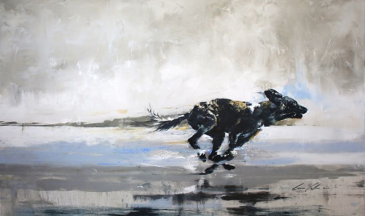 Wild dog Oil on Linen By Gavin Collins South Africa