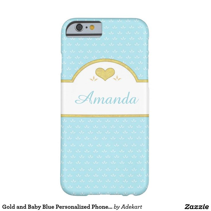 Gold and Baby Blue Personalized Phone Case