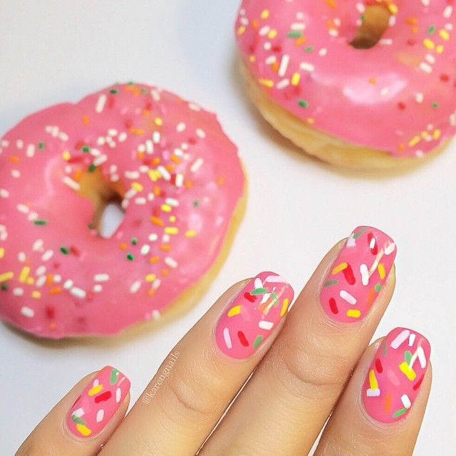donut sprinkle nails.