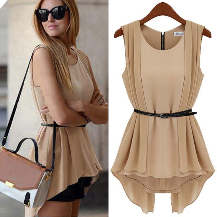 90% off  $19.99 Top Dress 2014 Clothing Women Fashion Zipper Back Sleeveless Casual Solid Dress Ladies ruffled Hem Blouses Tops Summer Dress