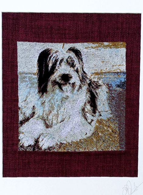 Meet Sam - an embroidered pet portrait. Commissions taken, just email us a high resolution image in jpeg format for a free no-obligation quotation. info@thehebrideandesigncompany.com