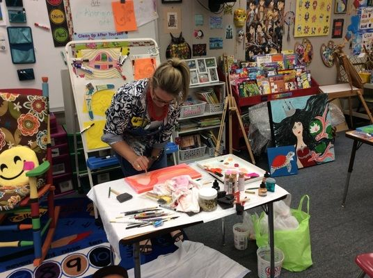 For my Capstone project, I had five artists come, during four different visits (two of them came together) and show the students their art work. (Jennifer Furr)
