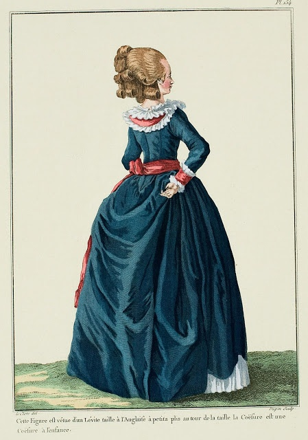 This figure is dressed in a Lévite fitted à l'Anglaise with little pleats around the waist.  The Coiffure is a coiffure à l'enfance. (1780)