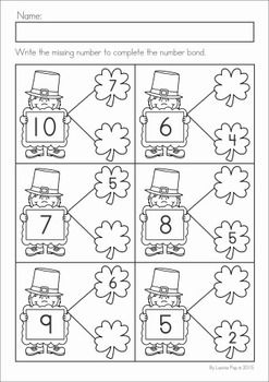 Kindergarten St. Patrick's Day Math & Literacy No Prep packet. A page from the unit: number bonds