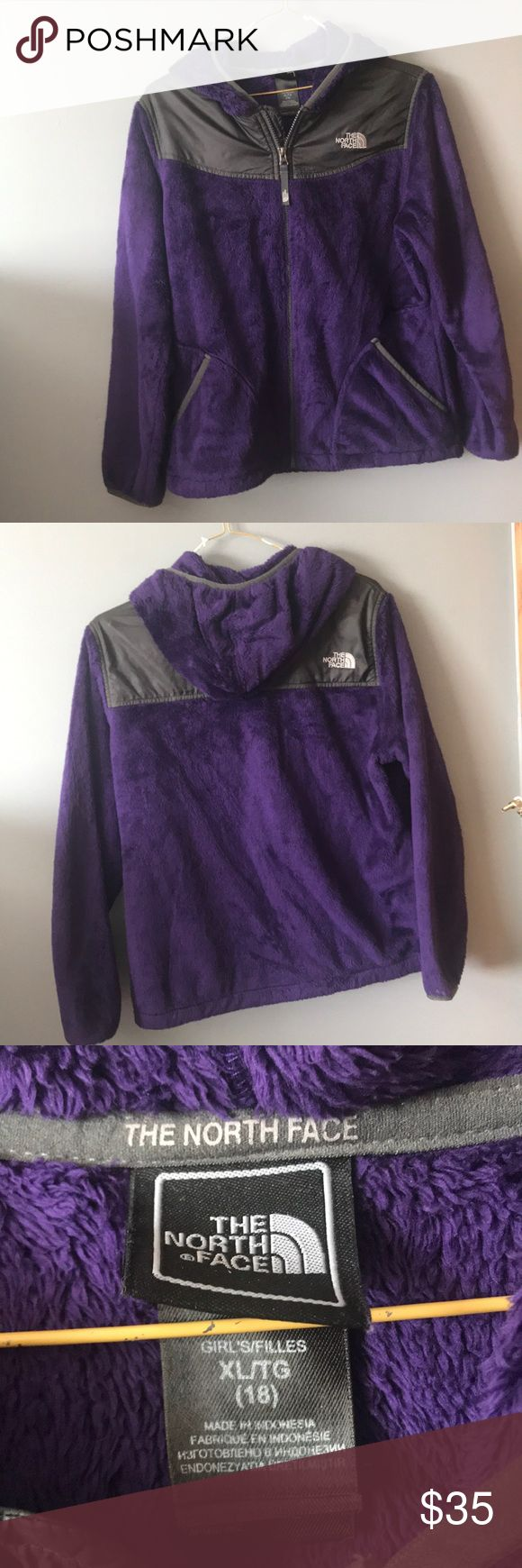 GIRLS fuzzy purple northface! Fuzzy purple north face! No stains/tears/issues at all, just a little worn from general wear. Great fall/spring jacket! KIDS (GIRL) XL! The North Face Jackets & Coats