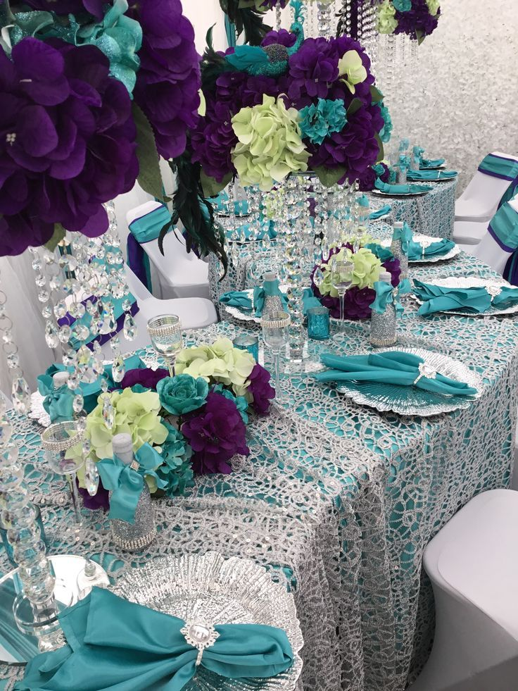 Turquoise Purple Silver Green Peacock Table Setting Diamant Du
