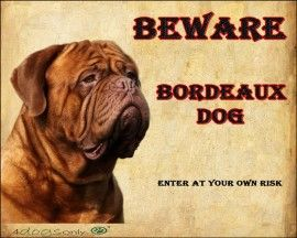 Waakbord De Bordeaux Dog (Engels) (02) | Waakborden / Dog Signs | 4dogsonly