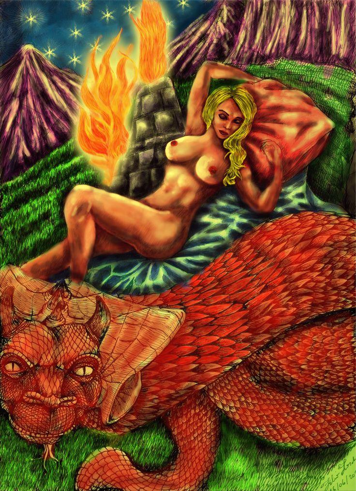 """Fabio Larcher, """"Bella dormiente con drago"""", 2016, china + arte digitale."""
