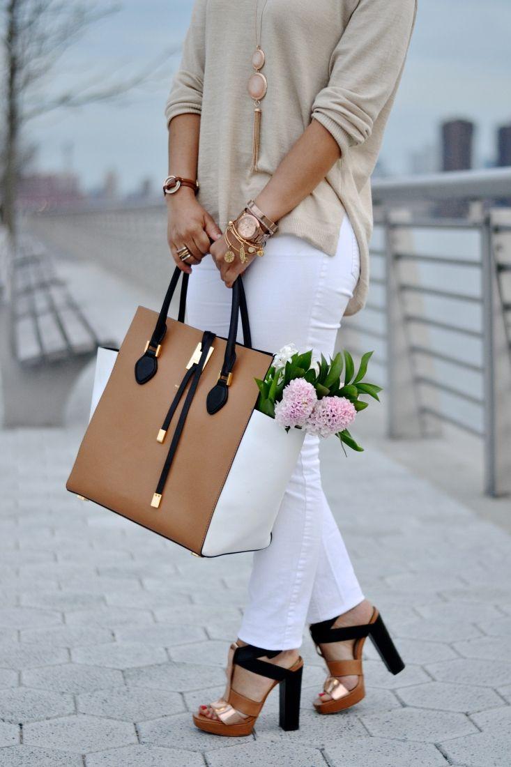 "Chic Neutral + Colorblock Accessories Michael Kors ""Miranda"" Collection Handbag Sage + Sparkle"