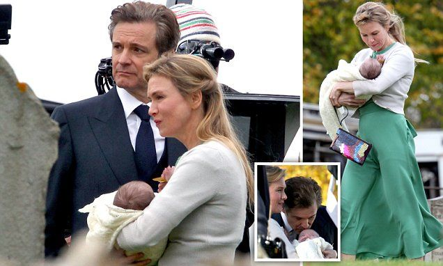 Renee Zellweger and Colin Firth shot more scenes for the upcoming third Bridget Jones film on Monday, and were joined for the first time by the leading character's on-screen offspring.