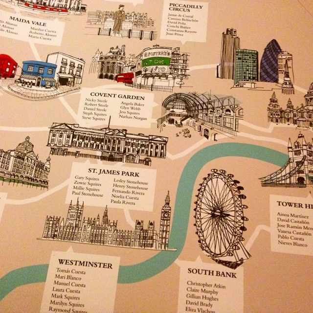 London themed table plan for a wedding. More map ideas - http://www.toptableplanner.com/blog/world-map-wedding-seating-plans