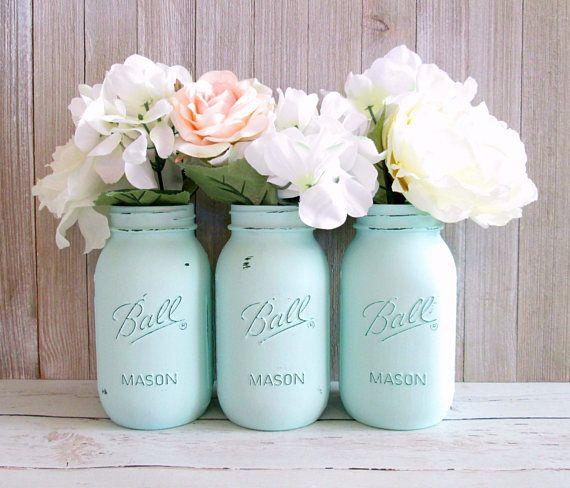 Mint Green Mason Jars - Mint Wedding Centerpieces - Mason Jar Decor - Set of 3 Quart Mason Jars - Baby Shower Centerpiece