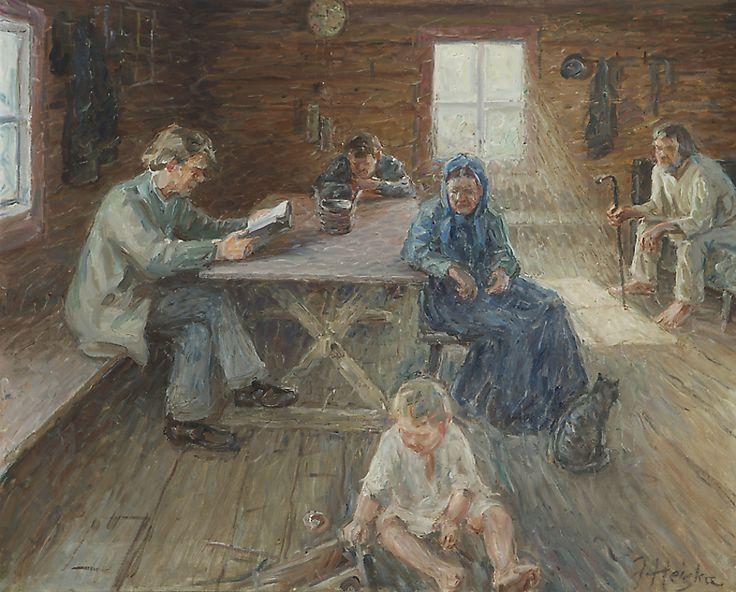 Jonas Heiska (1873-1937) A Peaceful Moment in a Farmer's Cabin - Finland - cat