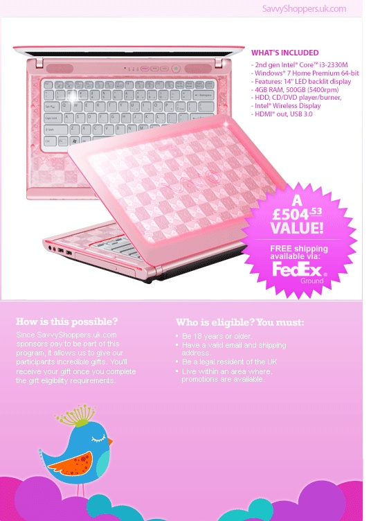 Free pink Sony Vaio for UK only