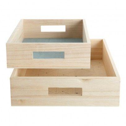 plateaux en bois imprim s graphiques set de 2 natural house doctor tablett becher schale. Black Bedroom Furniture Sets. Home Design Ideas