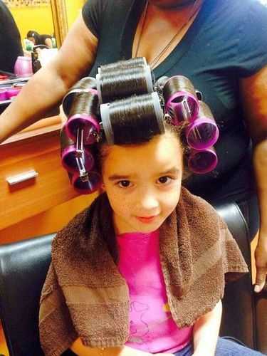 Hair Styles For Short Hair Little Girl Little Girl Big Rollers In Salon Hair Rollers Sleep In
