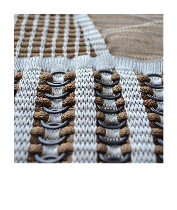 Experimental knit sample with jump rings & two tone pattern; knitwear design; textiles for fashion // Sarah Burton