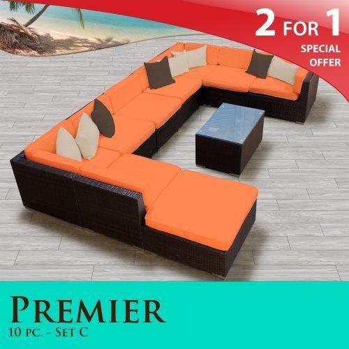 Premier Outdoor Wicker 10 Piece Patio Set Tangerine Covers  10C By TK  Classics. $2268.00