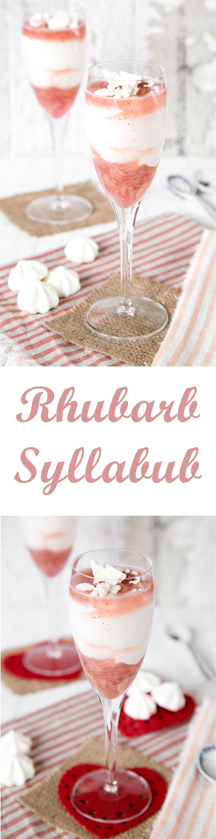 Vanilla and rhubarb syllabub is about the easiest pudding you can make, serve in a wine glass for stunning effect.