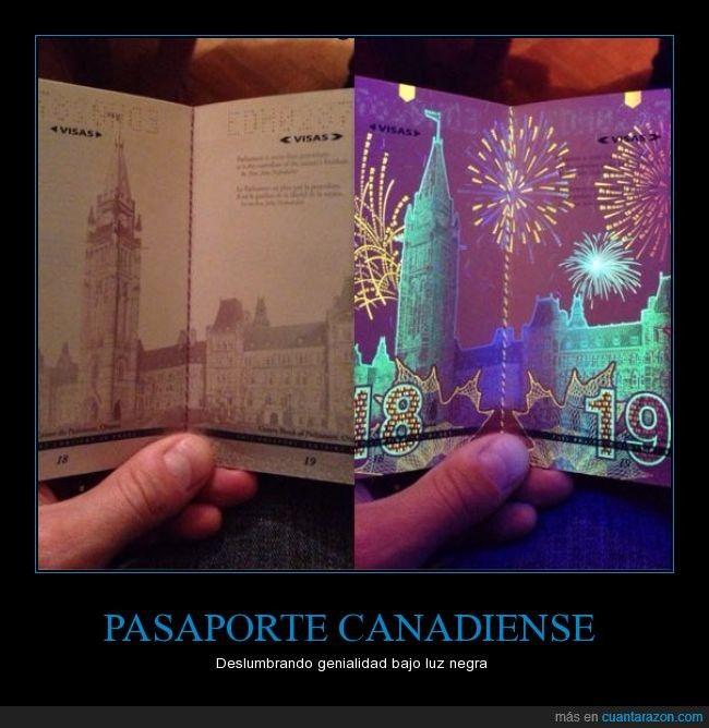 ¡Brutal lo del pasaporte canadiense! - Deslumbrando genialidad bajo luz negra   Gracias a http://www.cuantarazon.com/   Si quieres leer la noticia completa visita: http://www.estoy-aburrido.com/brutal-lo-del-pasaporte-canadiense-deslumbrando-genialidad-bajo-luz-negra/