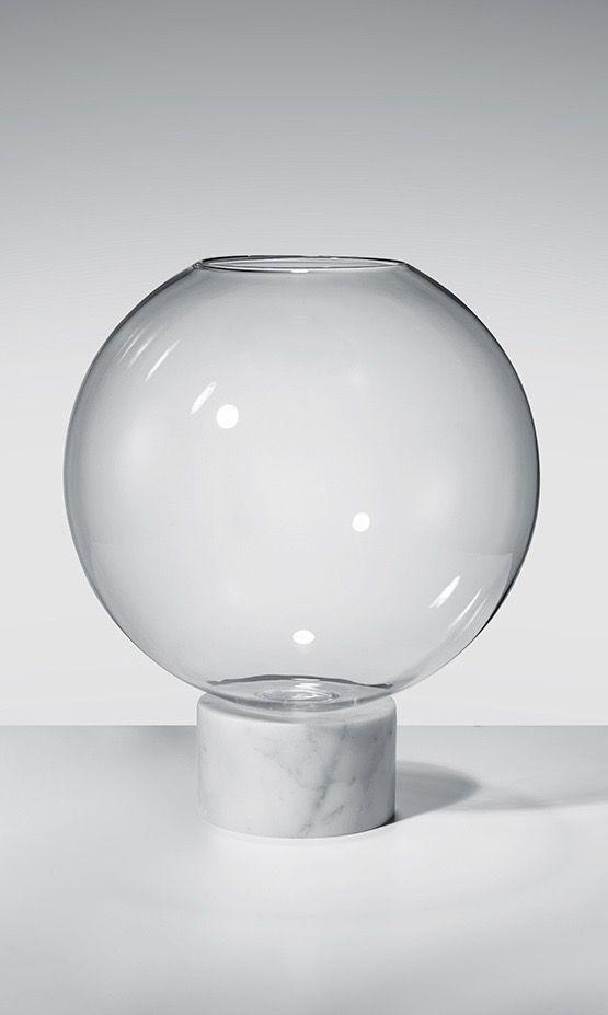 Lee Broom | White Marble Podium Globe Vase