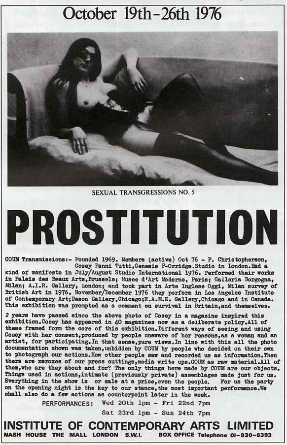 "Coum Transmissions | The now legendary show ""Prostitution"" 