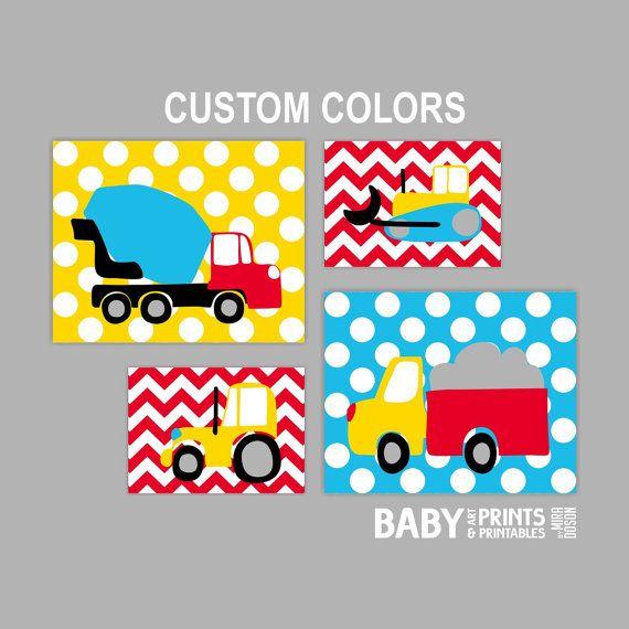 Baby boy Nursery art Construction Truck