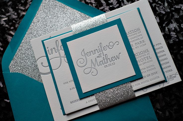 glitter wedding invitations, peacock and silver, letterpress wedding invitations