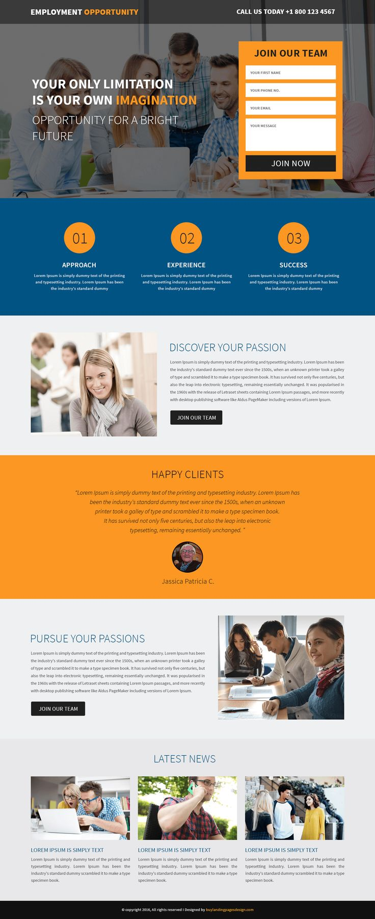 Responsive Employment Opportunity Landing Page Template $29 only BuyNow!