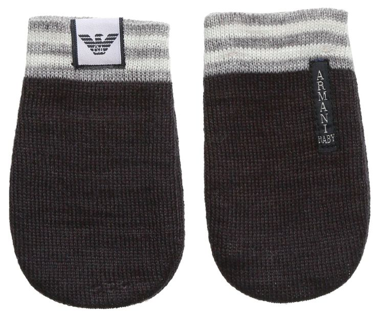 Armani Baby Charcoal/Grey Mittens