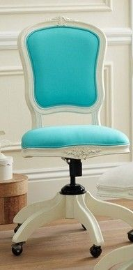 Tiffany Blue office chair!!  If you have to work- work beautifully #DIYmarketing #OfficeSpace
